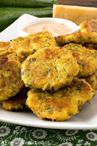 Baked Zucchini Fritters with Smoky Dipping Sauce - A Family Feast