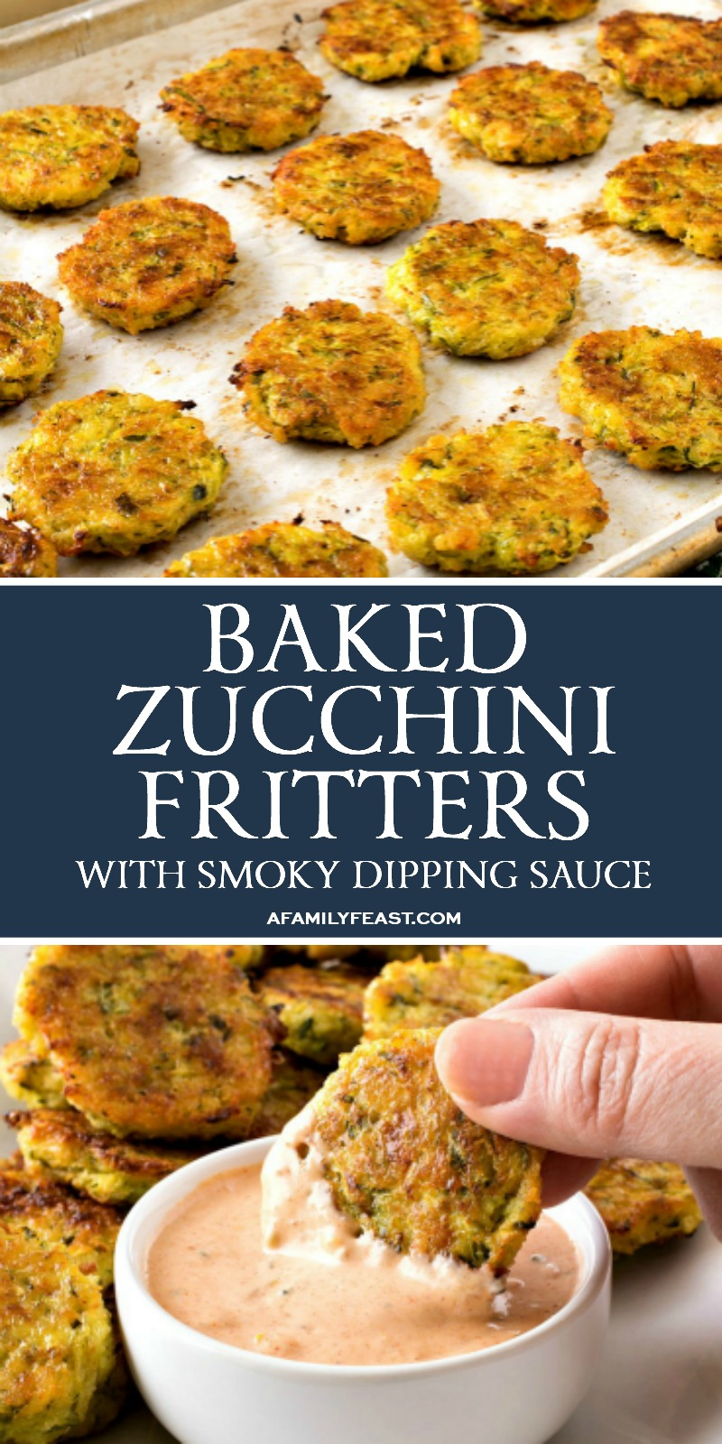 Baked Zucchini Fritters with Smoky Dipping Sauce