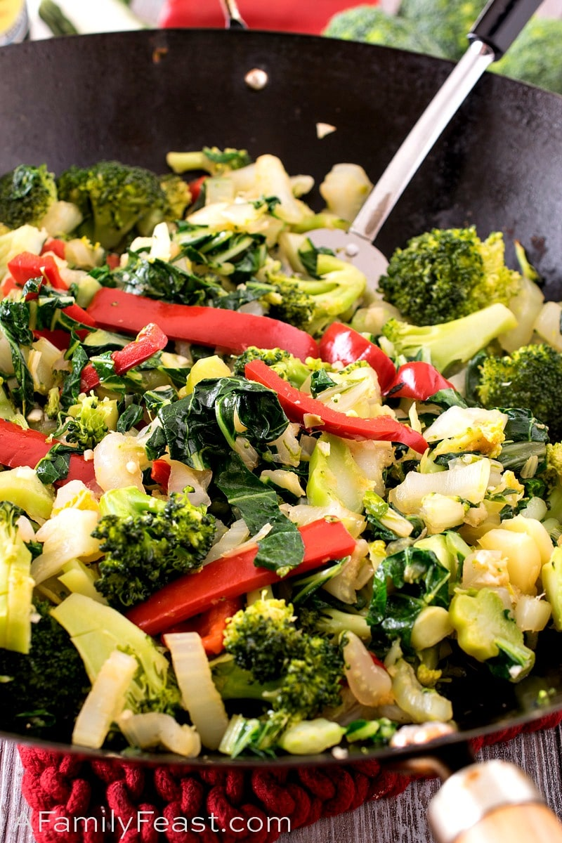 Stir-Fry Bok Choy with Red Pepper and Broccoli