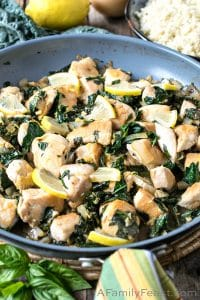 Lemon Basil Chicken with Tuscan Kale and Cauliflower Rice