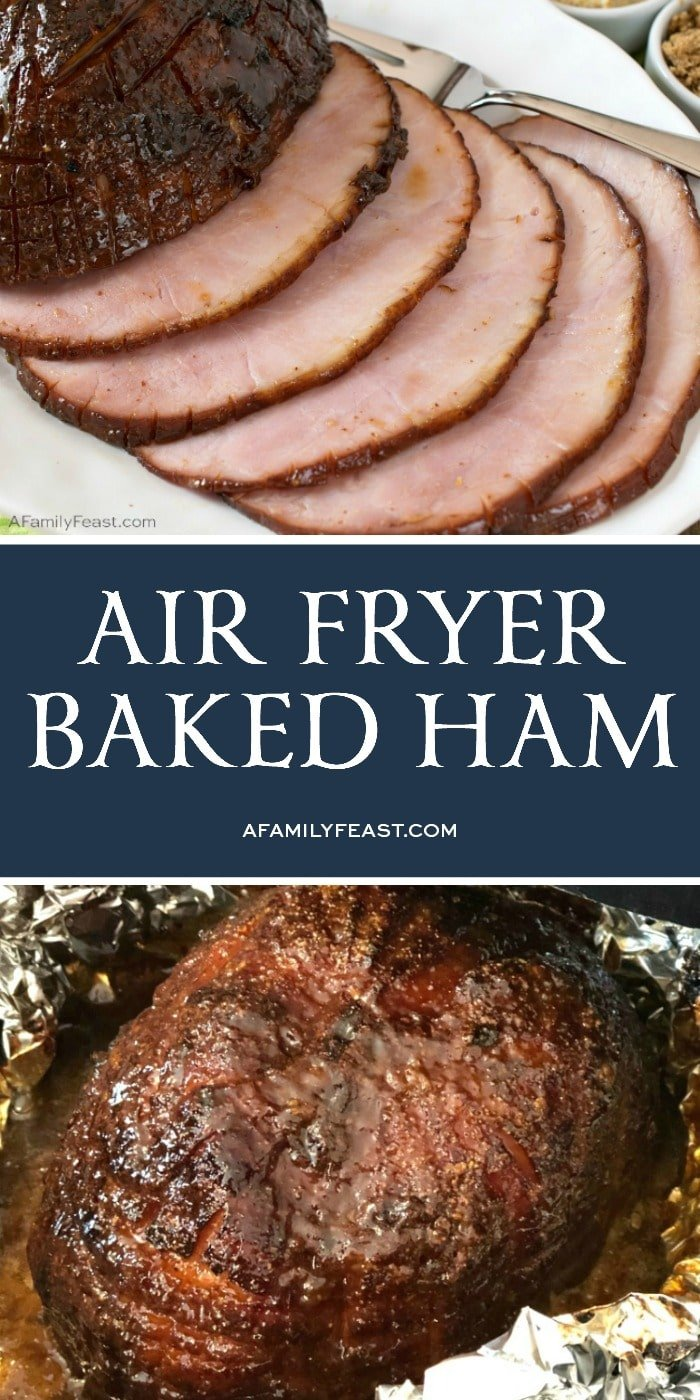 This Air Fryer Baked Ham cooks up perfectly juicy with a sweet and spicy brown sugar-mustard glaze.