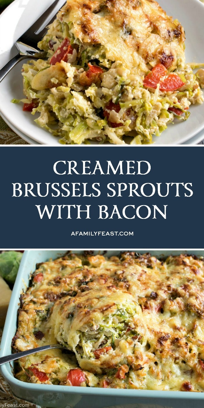 Our Creamed Brussels Sprouts with Bacon is rich, cheesy and delicious.