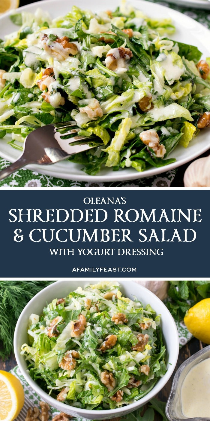 Shredded Romaine and Cucumber Salad with Yogurt Dressing