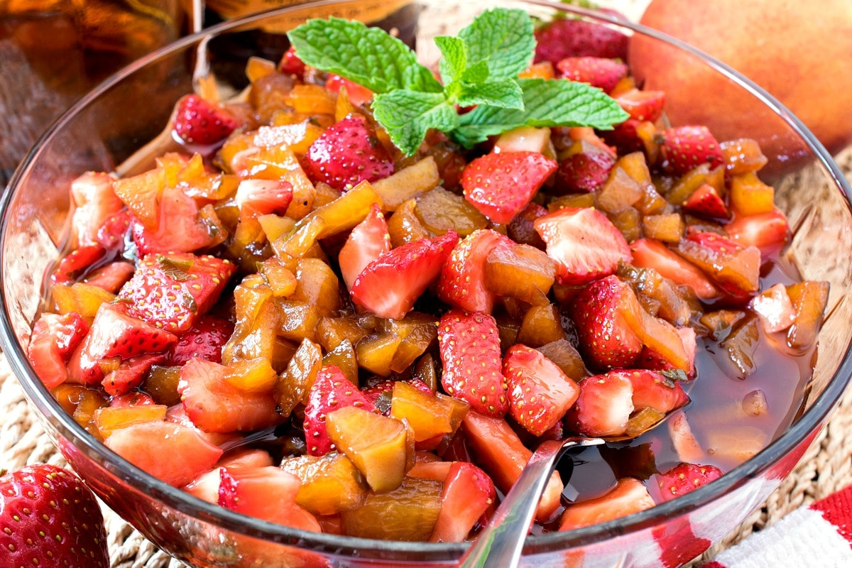 Balsamic Macerated Strawberries and Peaches