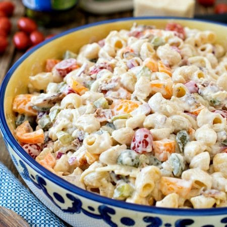 Dill Pickle Bacon Ranch Pasta Salad