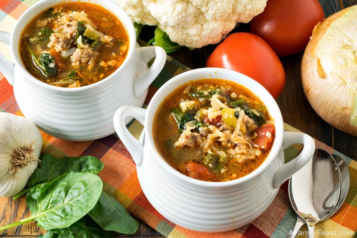 Keto Italian Sausage and Cauliflower Rice Soup