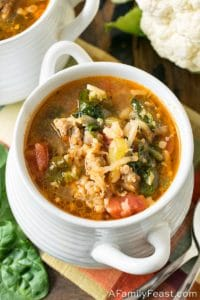 Keto Italian Sausage and Cauliflower Rice Soup