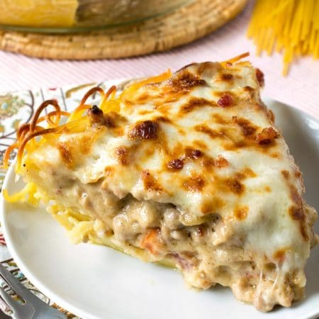 Chicken Carbonara Spaghetti Pie