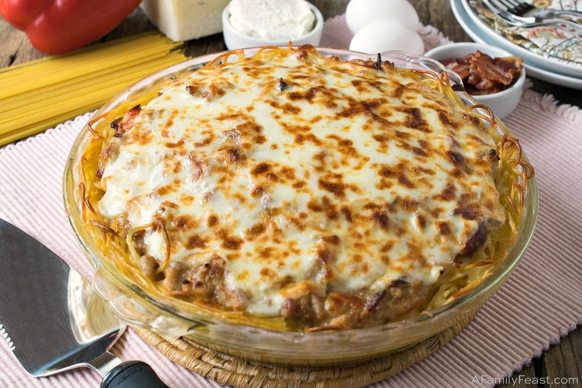 Chicken Carbonara Spaghetti Pie