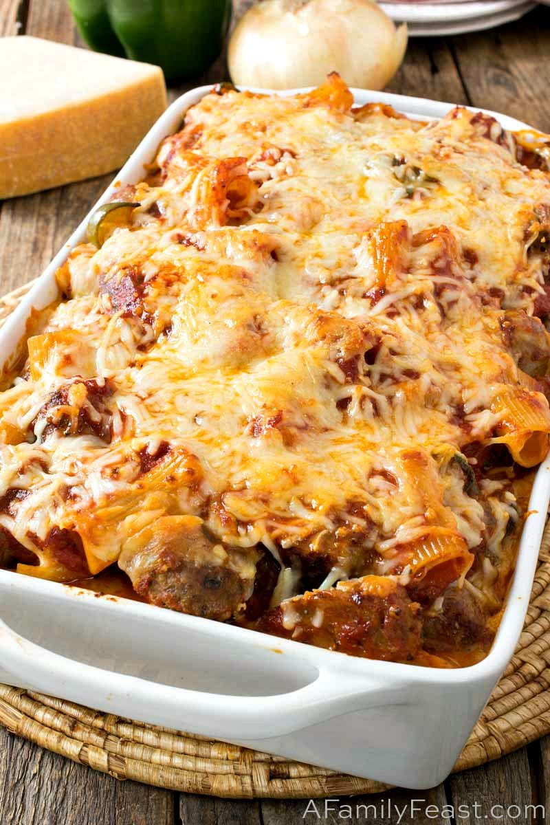Baked Rigatoni with Italian Sausage and Meatballs