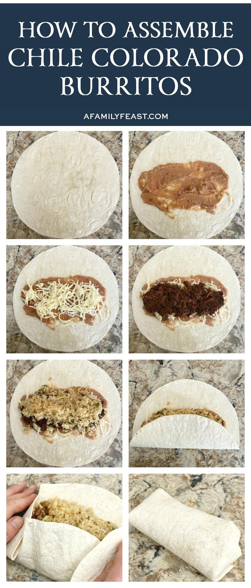 how to assemble Chile Colorado Burritos