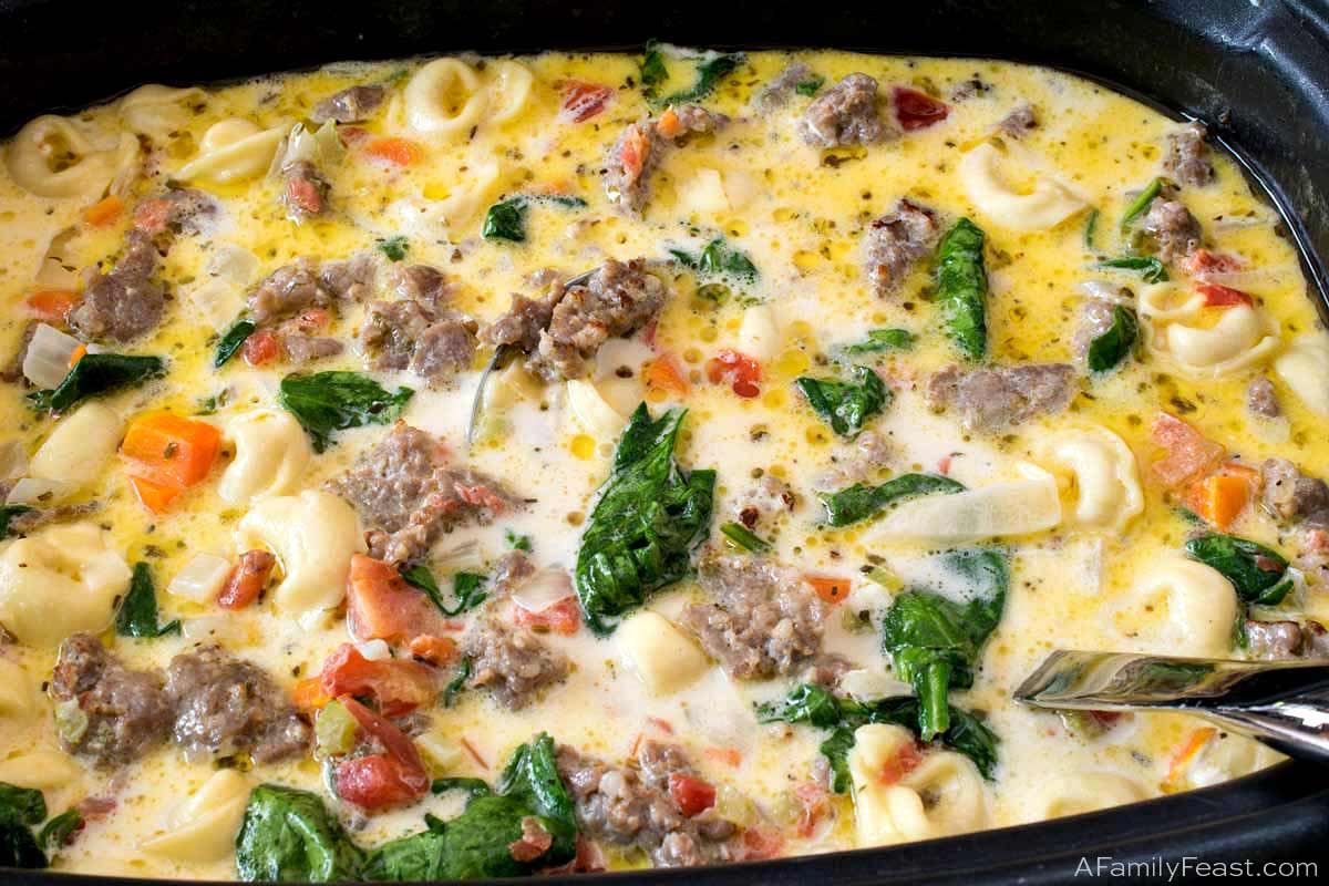 Slow Cooker Creamy Tortellini and Sausage Soup
