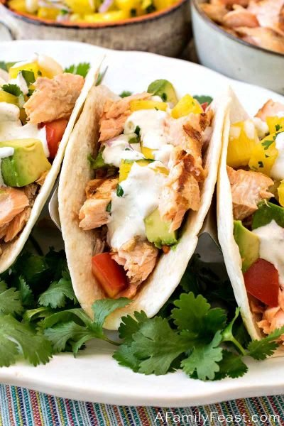 Grilled Salmon Tacos with Pineapple Salsa