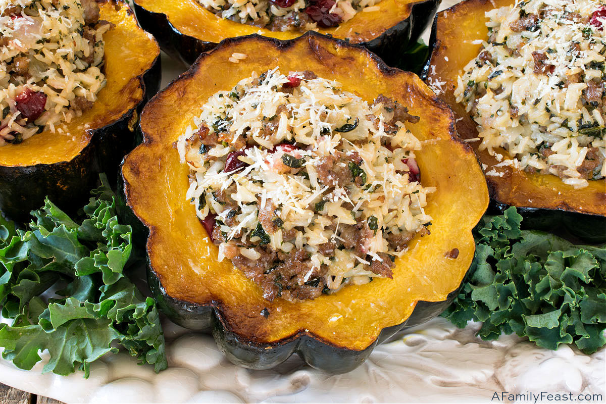 Acorn Squash with Sausage & Rice Stuffing