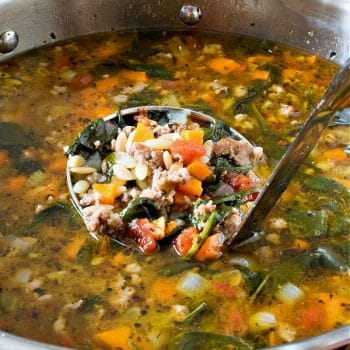 Orzo Spinach Italian Sausage Soup - A Family Feast