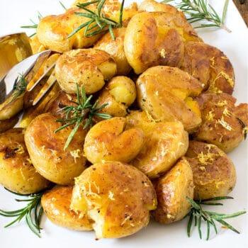 Lemon Rosemary Crispy Smashed Potatoes