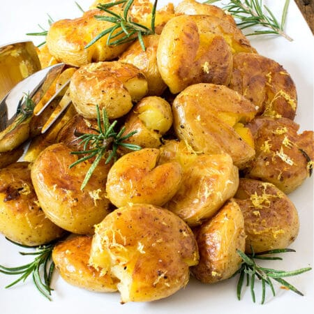 Lemon Rosemary Crispy Smashed Potatoes