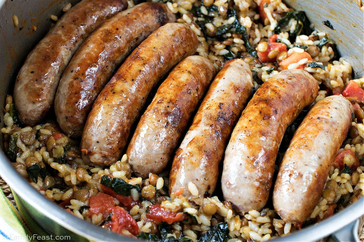 Italian Sausage with Lentils & Rice