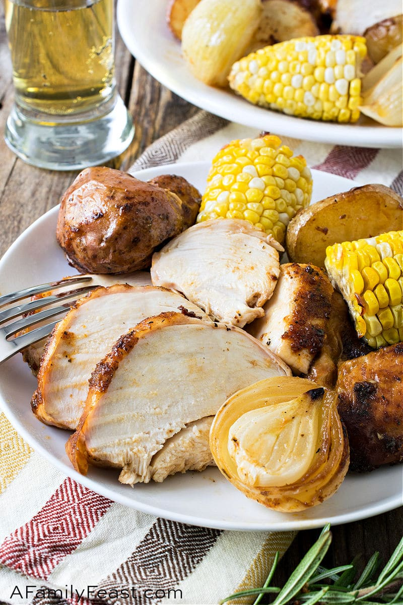 Beer Can Chicken with Vegetables