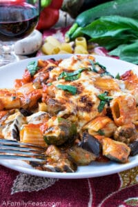 Baked Rigatoni with Roasted Summer Vegetables